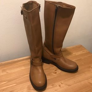 New Tall Frye Engineer Boots 9M Toffee Side Zip